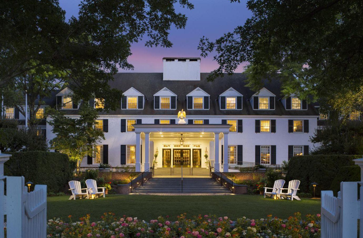 Exterior of Woodstock Inn & Resort at night
