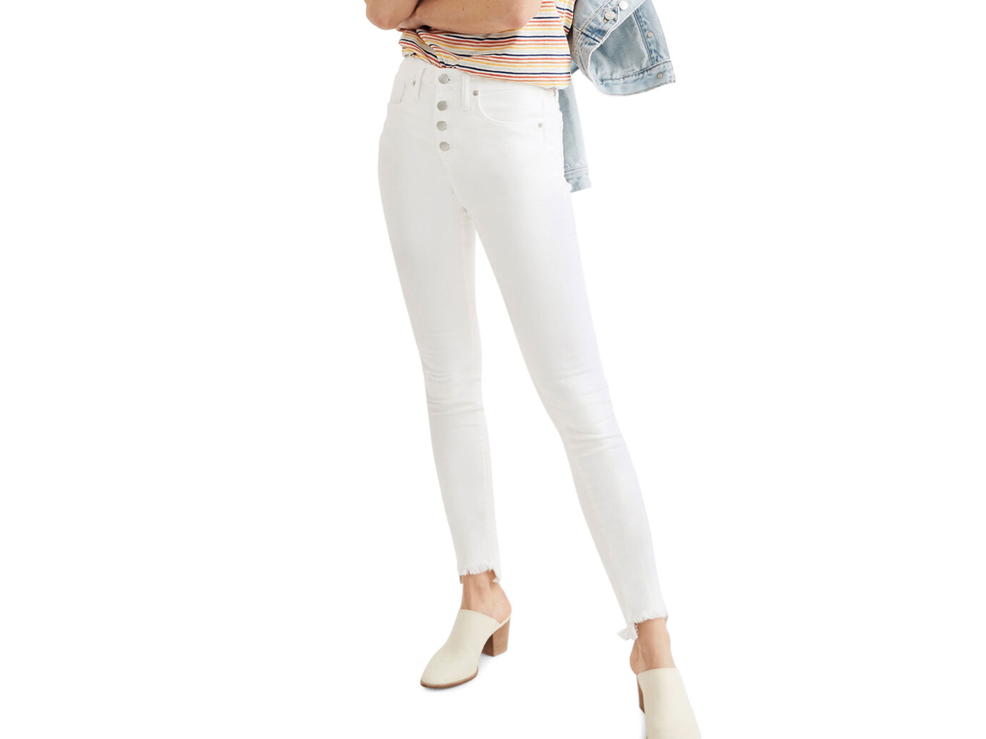 Madewell High Waist Button Front Ankle Skinny Jeans