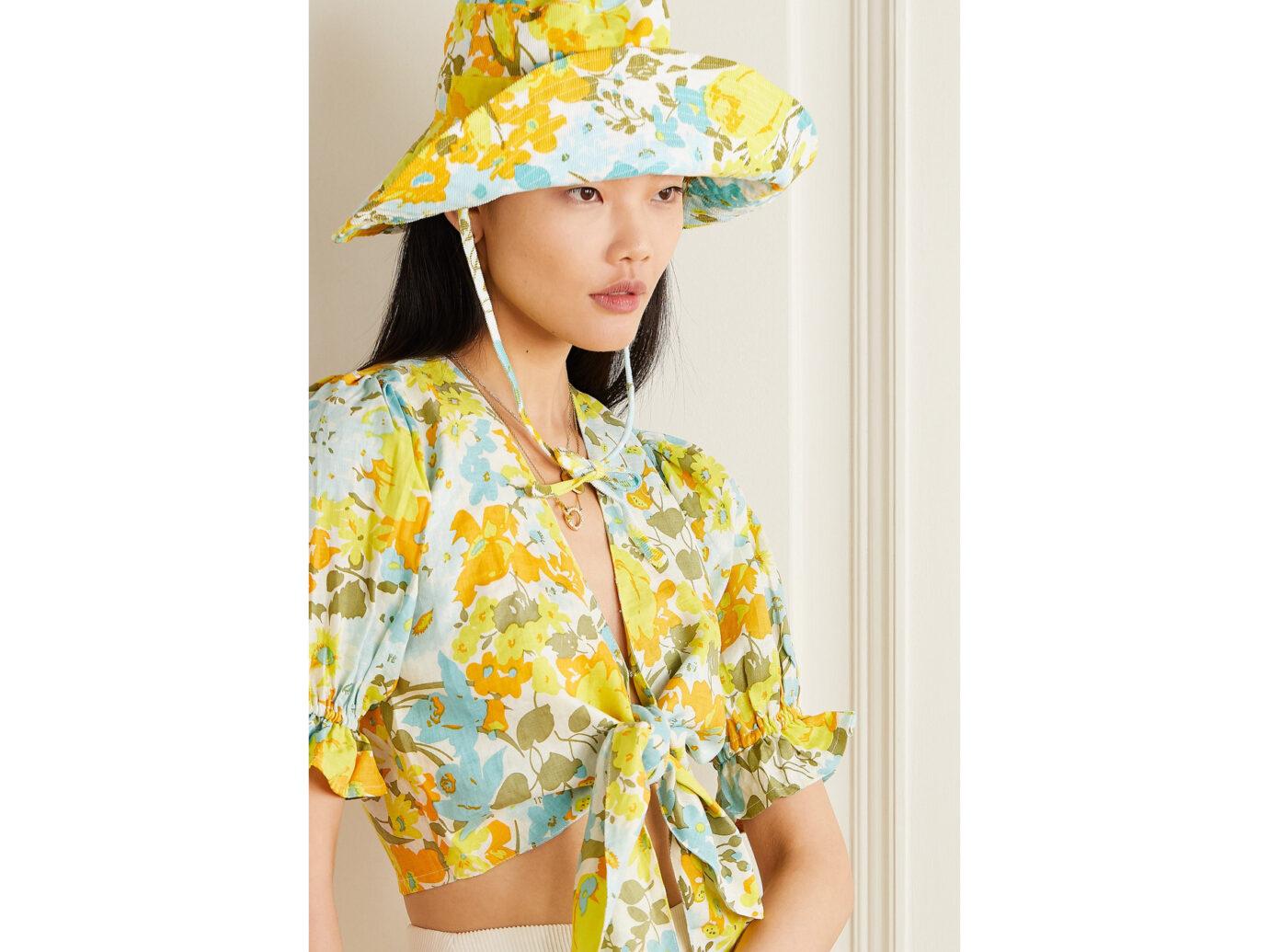 Faithfull The Brand Floral-print cotton-corduroy bucket hat