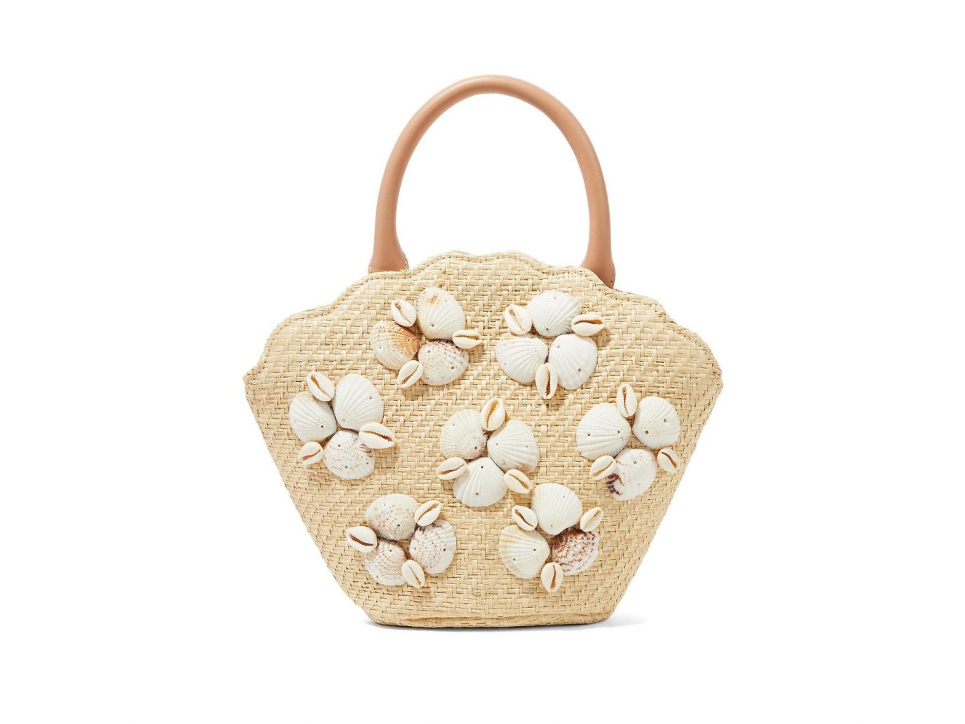 Loeffler Randall Aria leather-trimmed shell-embellished woven straw tote