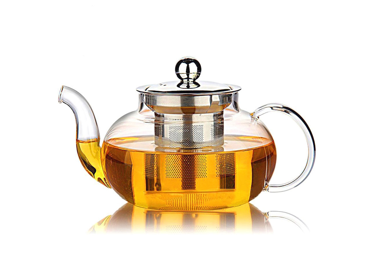 Hiware Good Glass Teapot with Stainless Steel Infuser & Lid