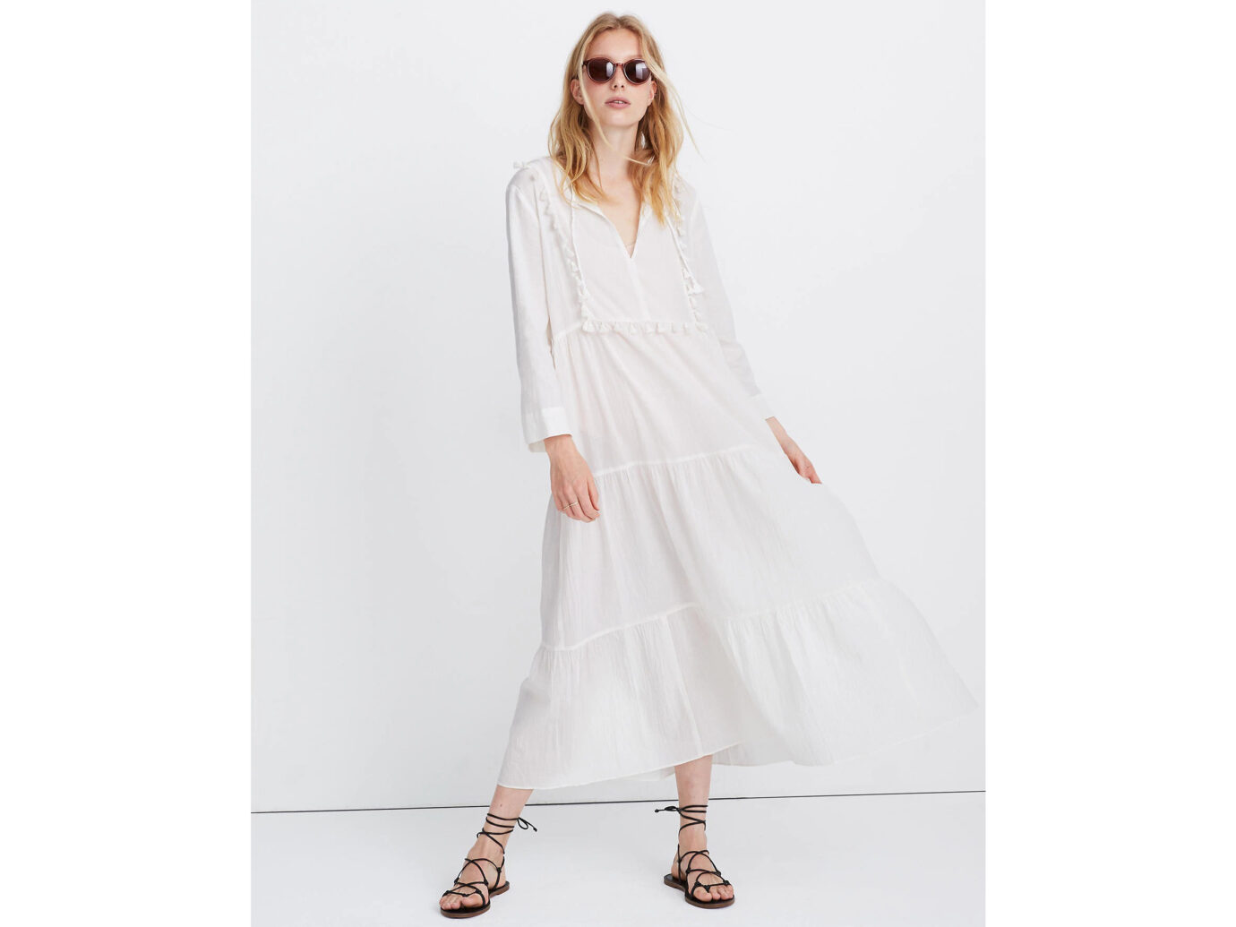 Madewell Tiered Cover-Up Caftan Dress