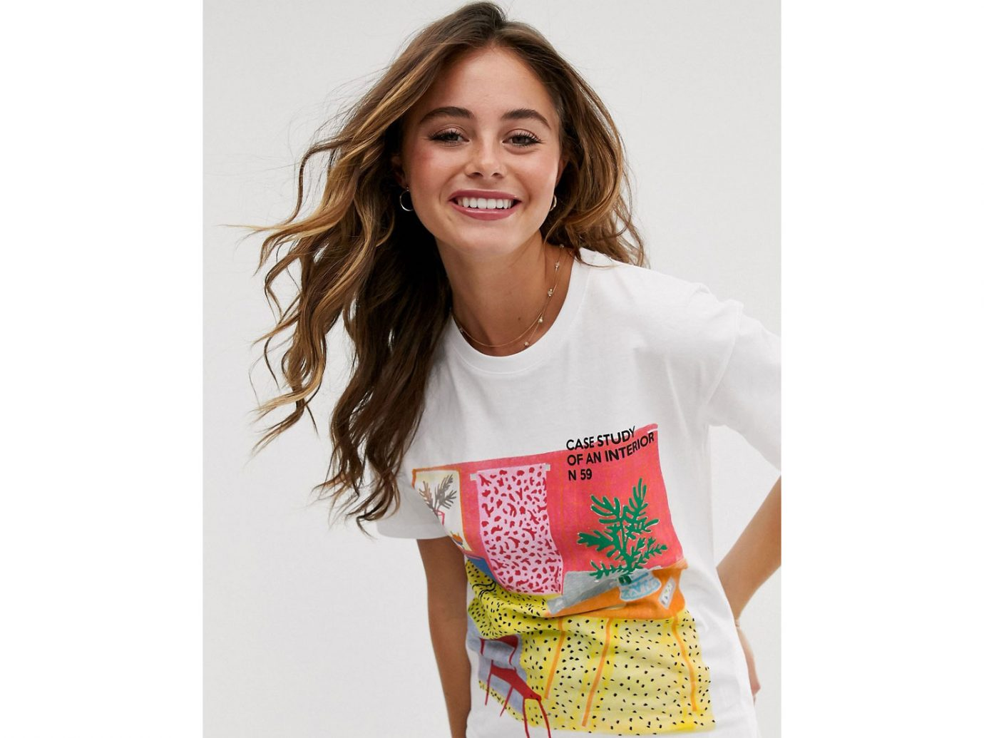 ASOS Pull&Bear interior motif graphic tee in white