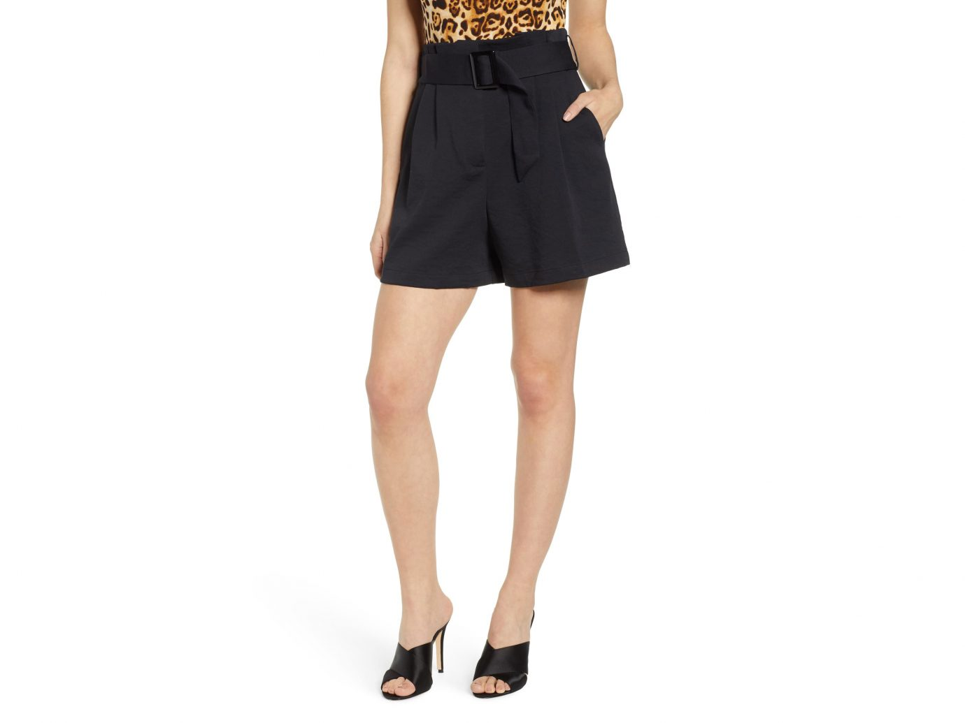 Belt Paperbag Waist Shorts, Main, color, BLACK Buckle Belt Paperbag Waist Shorts LEITH