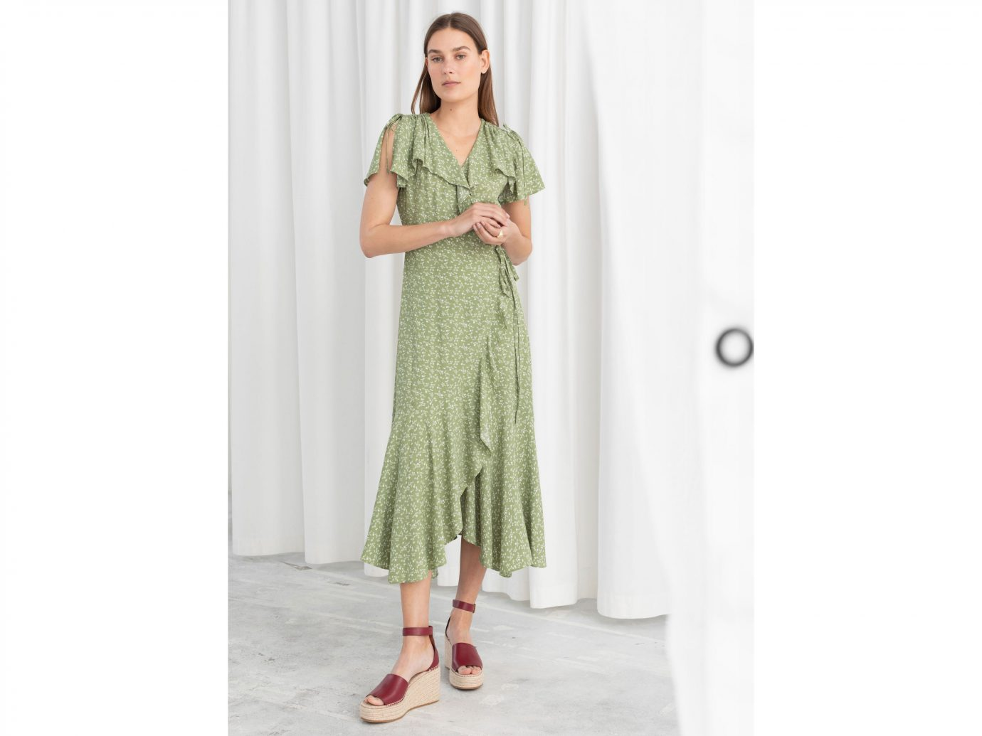 Stories Floral Handkerchief Wrap Midi Dress