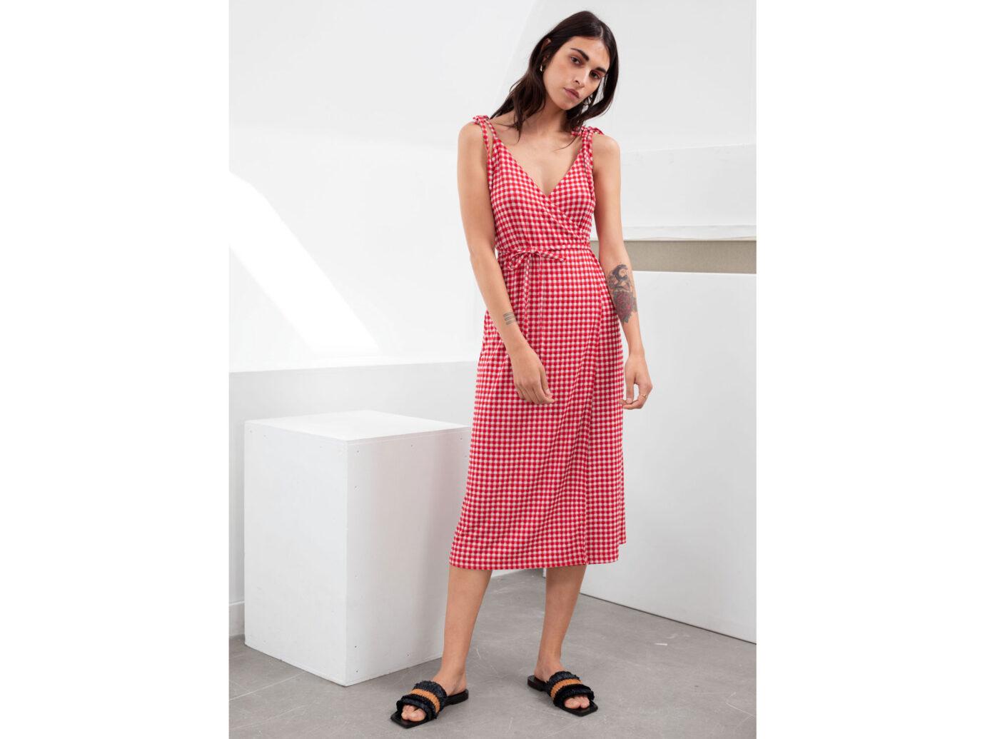 Tie Shoulder Gingham Midi Dress