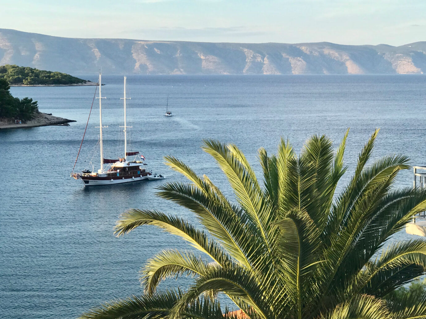 View of a boat on the water in Hvar, Croatia