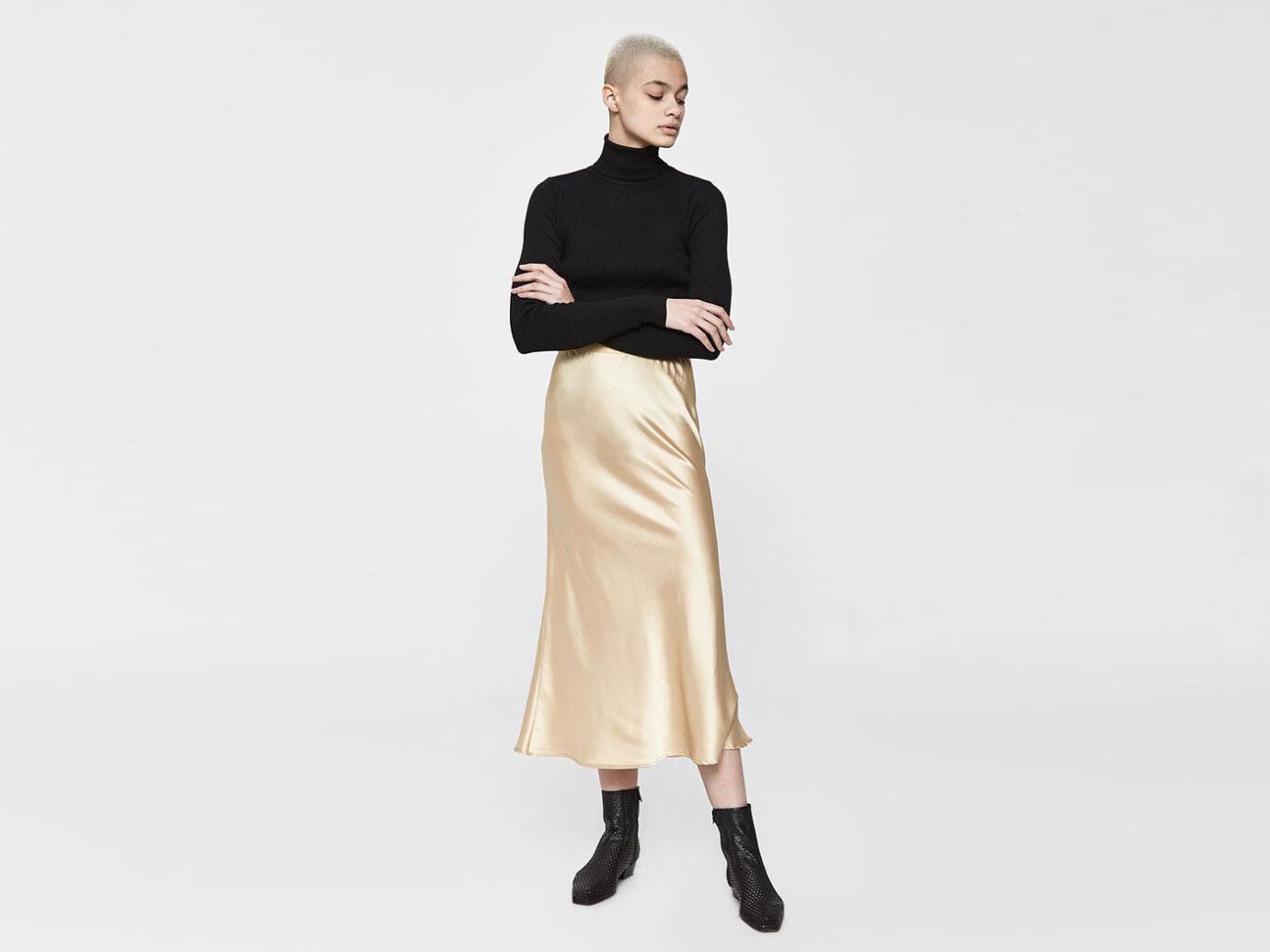 Stelen Madina Slip Skirt in Gold