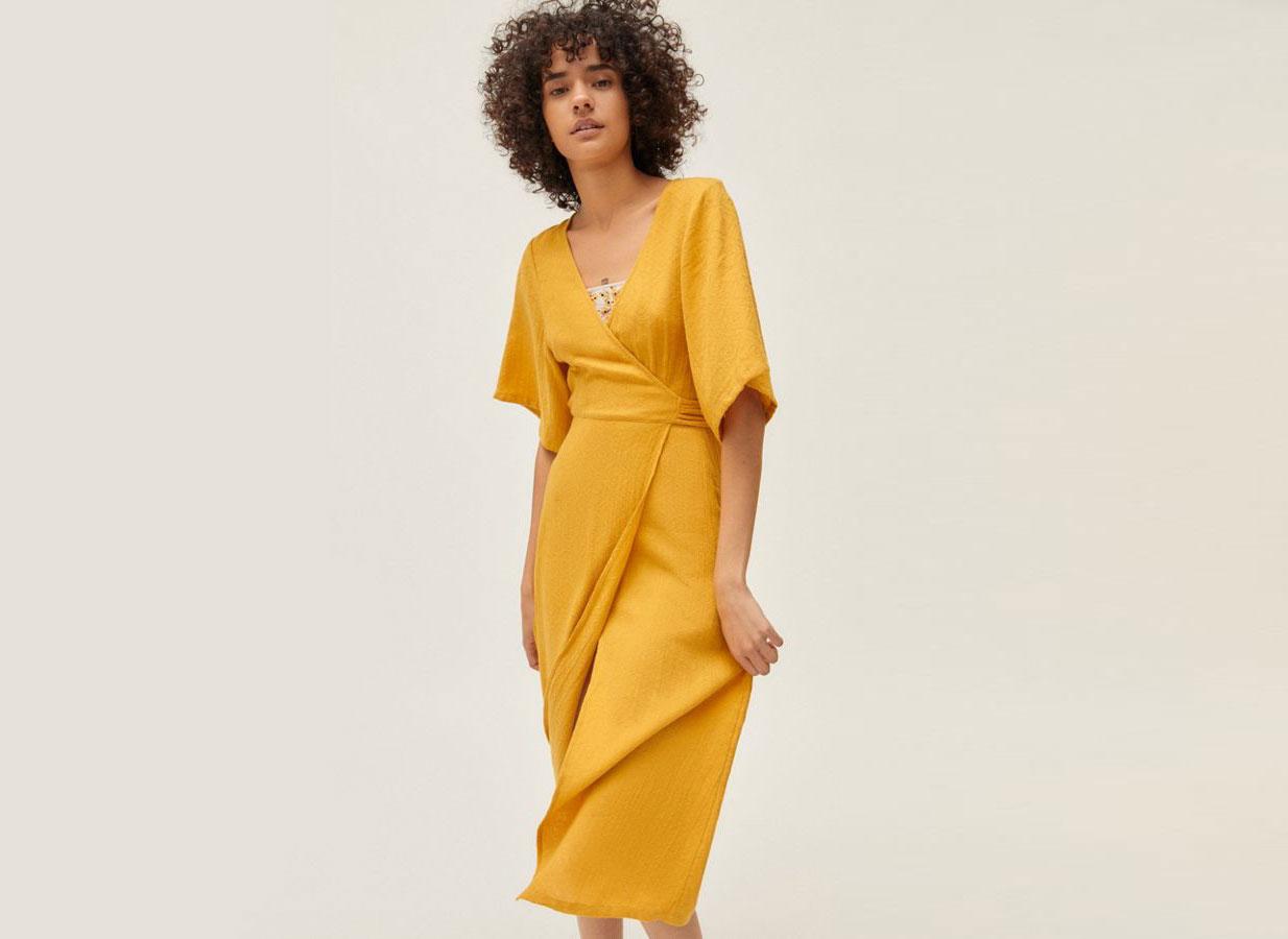 UO Kayla Surplice Wrap Midi Dress