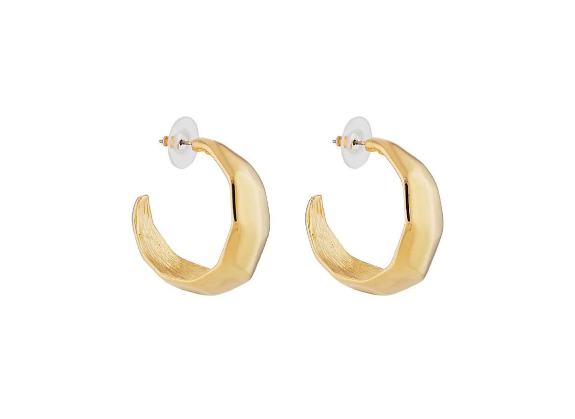 KENNETH JAY LANE Hammered Hoop Earrings