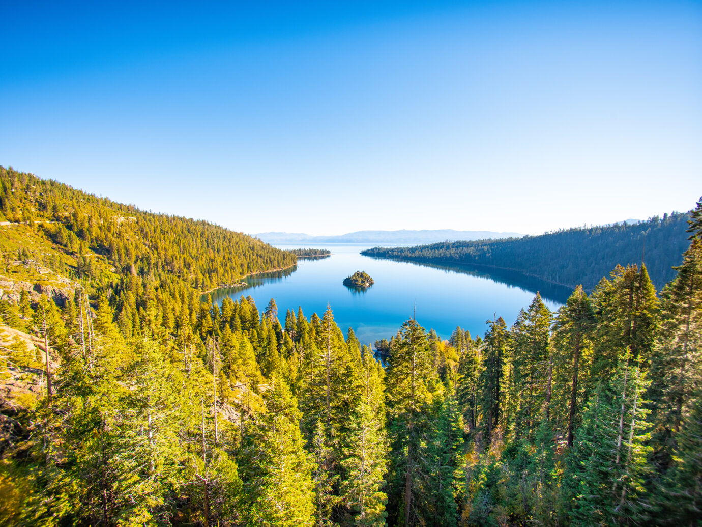 View of South Lake Tahoe from the forest