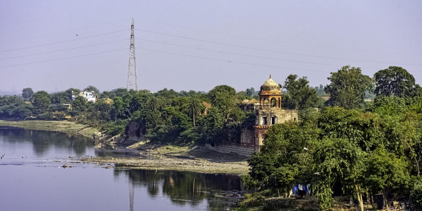 Panoramic view of Yamuna River in Agra, Uttar Pradesh, India