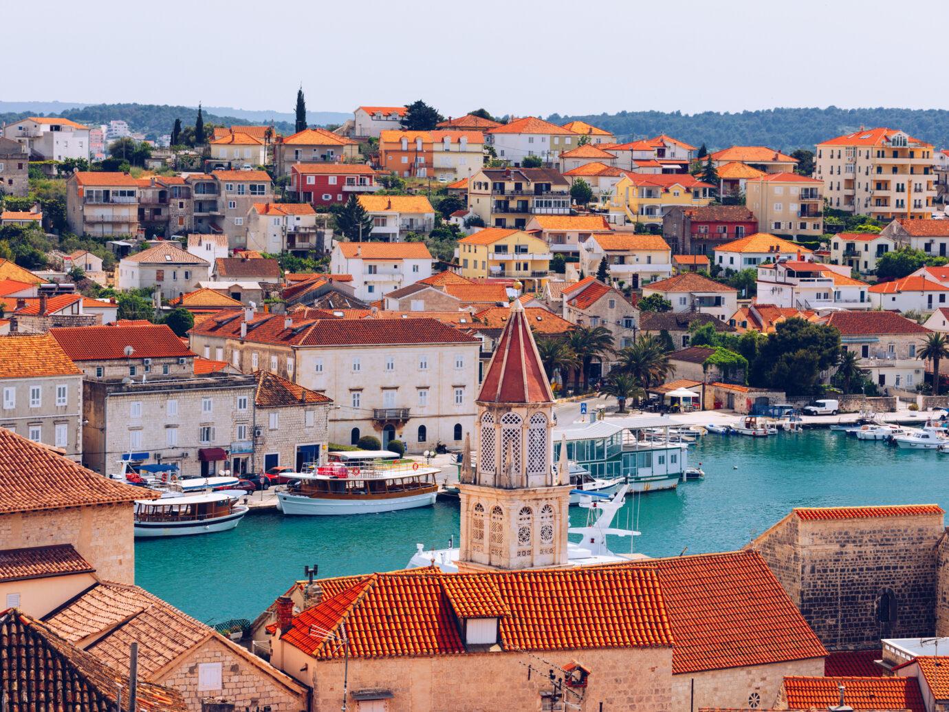Historic buildings on promenade in Trogir, Croatia.