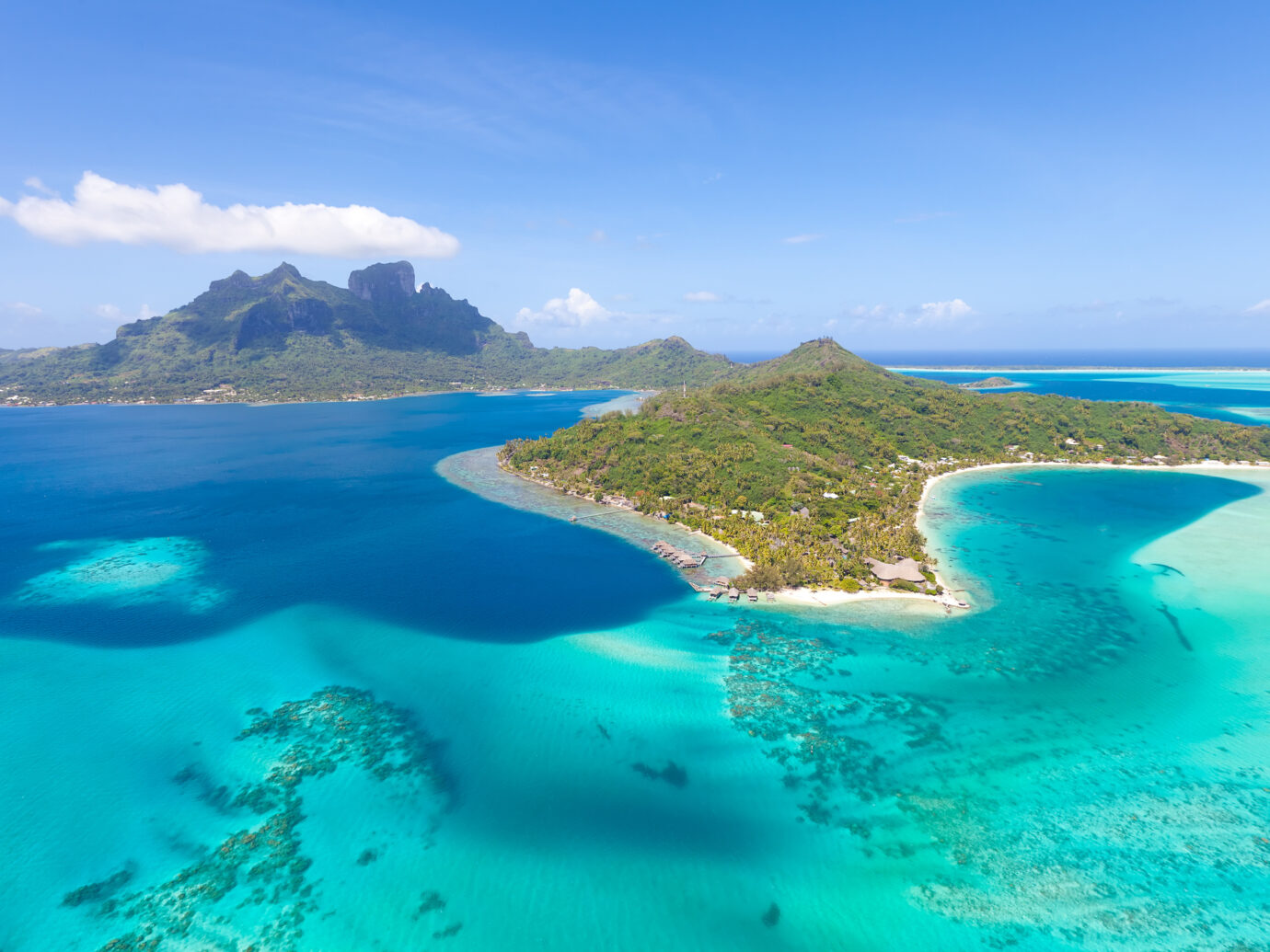 gorgeous view at bora bora island from the helicopter