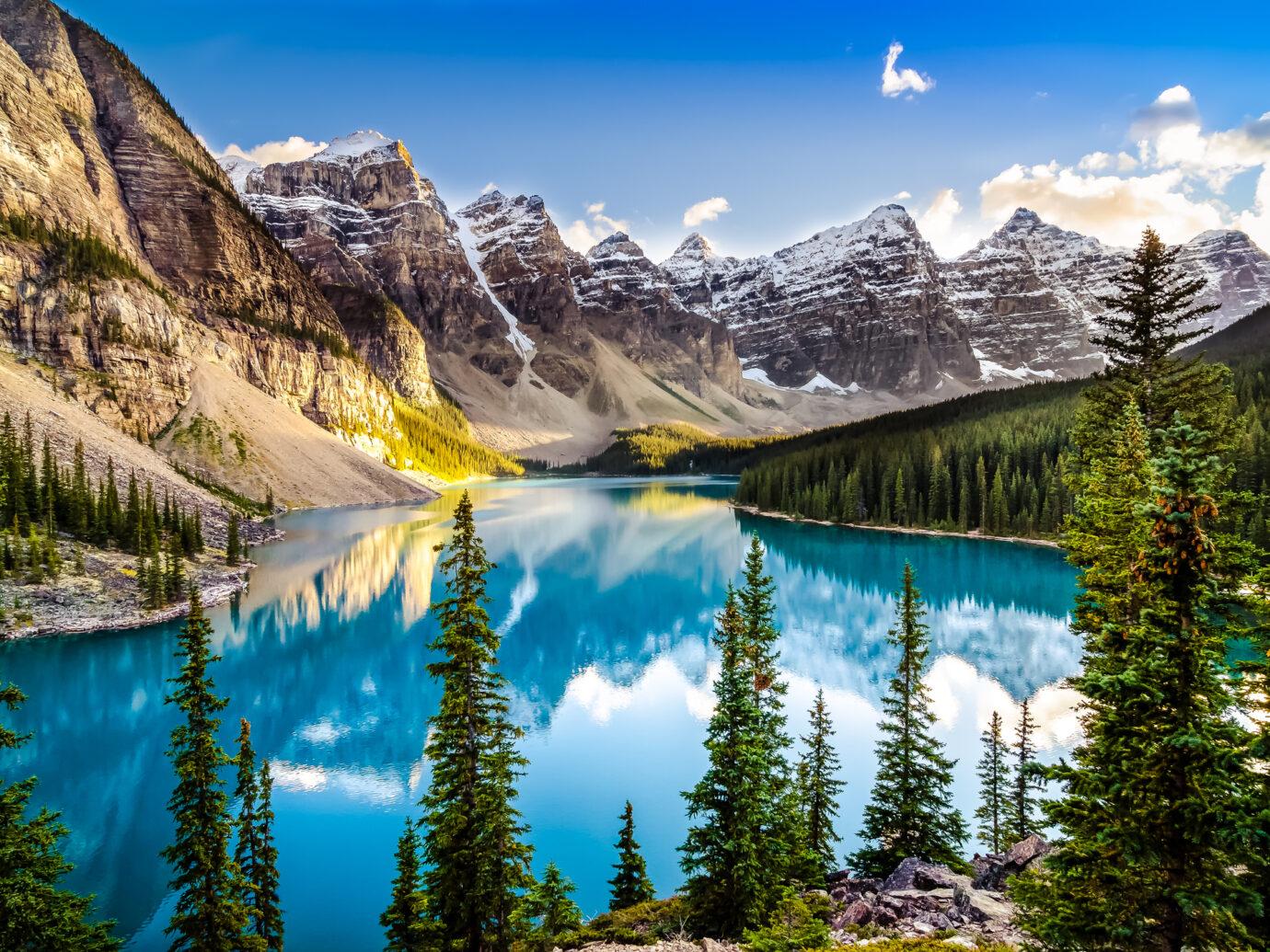 Landscape sunset view of Morain lake and mountain range, Alberta, Canada