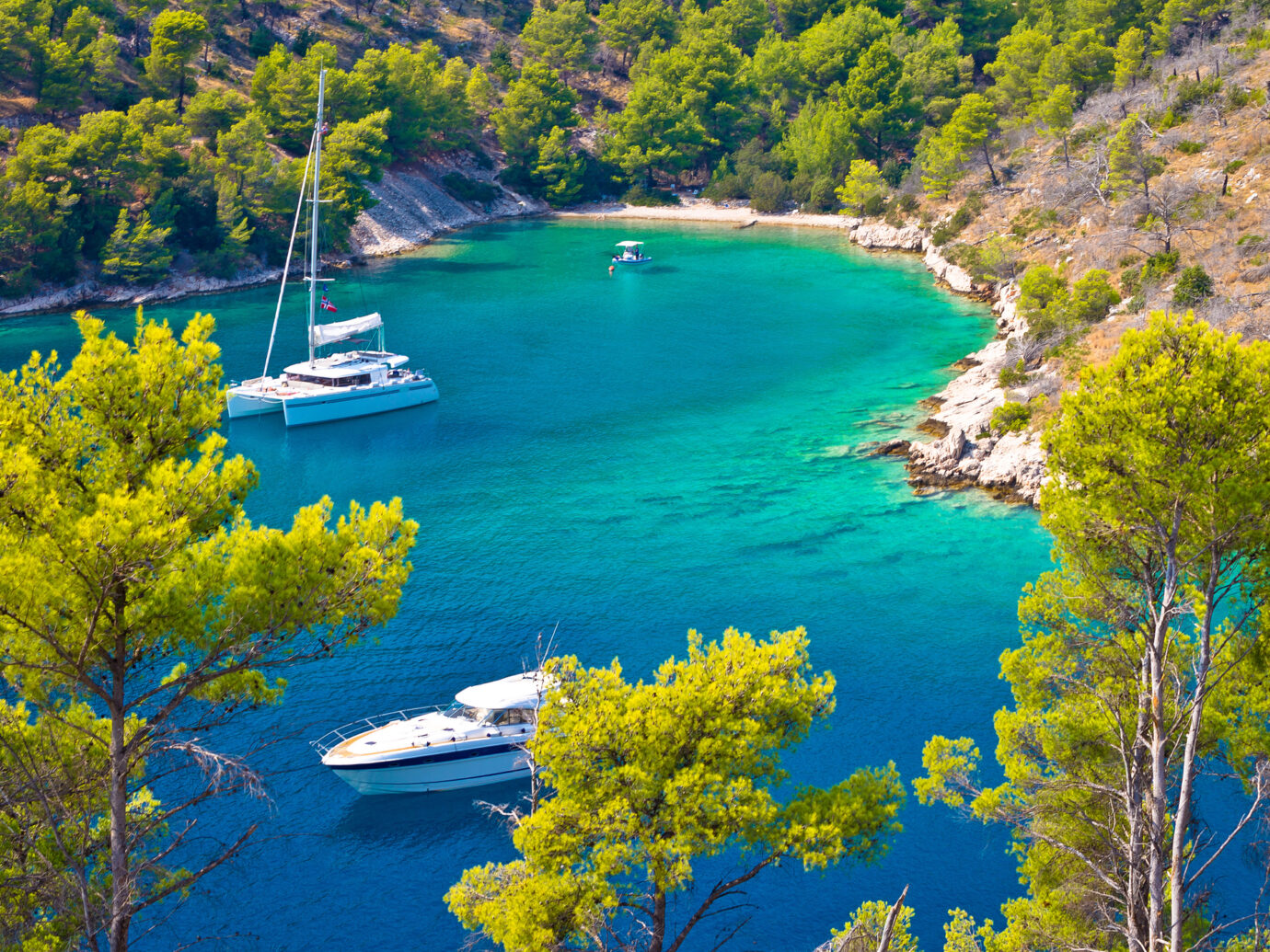 Secret turquoise beach yachting and sailing, Island of Brac, Dalmatia, Croatia