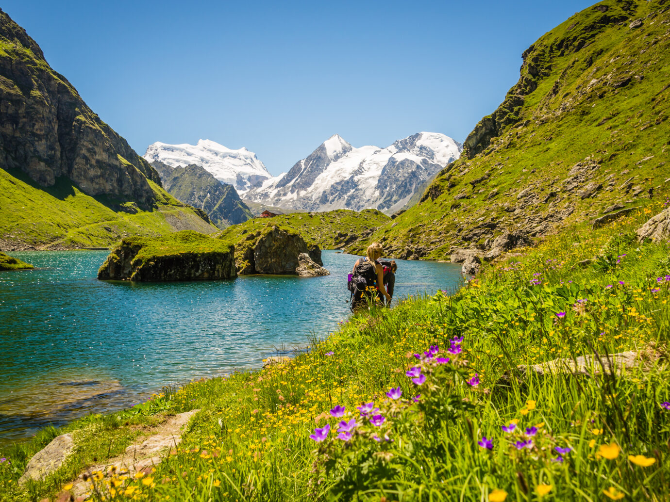 A hiking path beside the famous Lac Louvie near the Swiss town of Verbier.