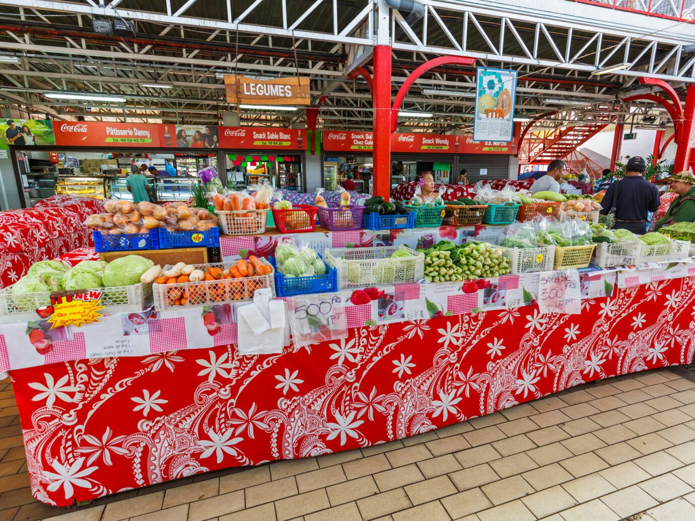 The fresh market in the town of Papeete early in the morning in Tahiti Papeete, French Polynesia.