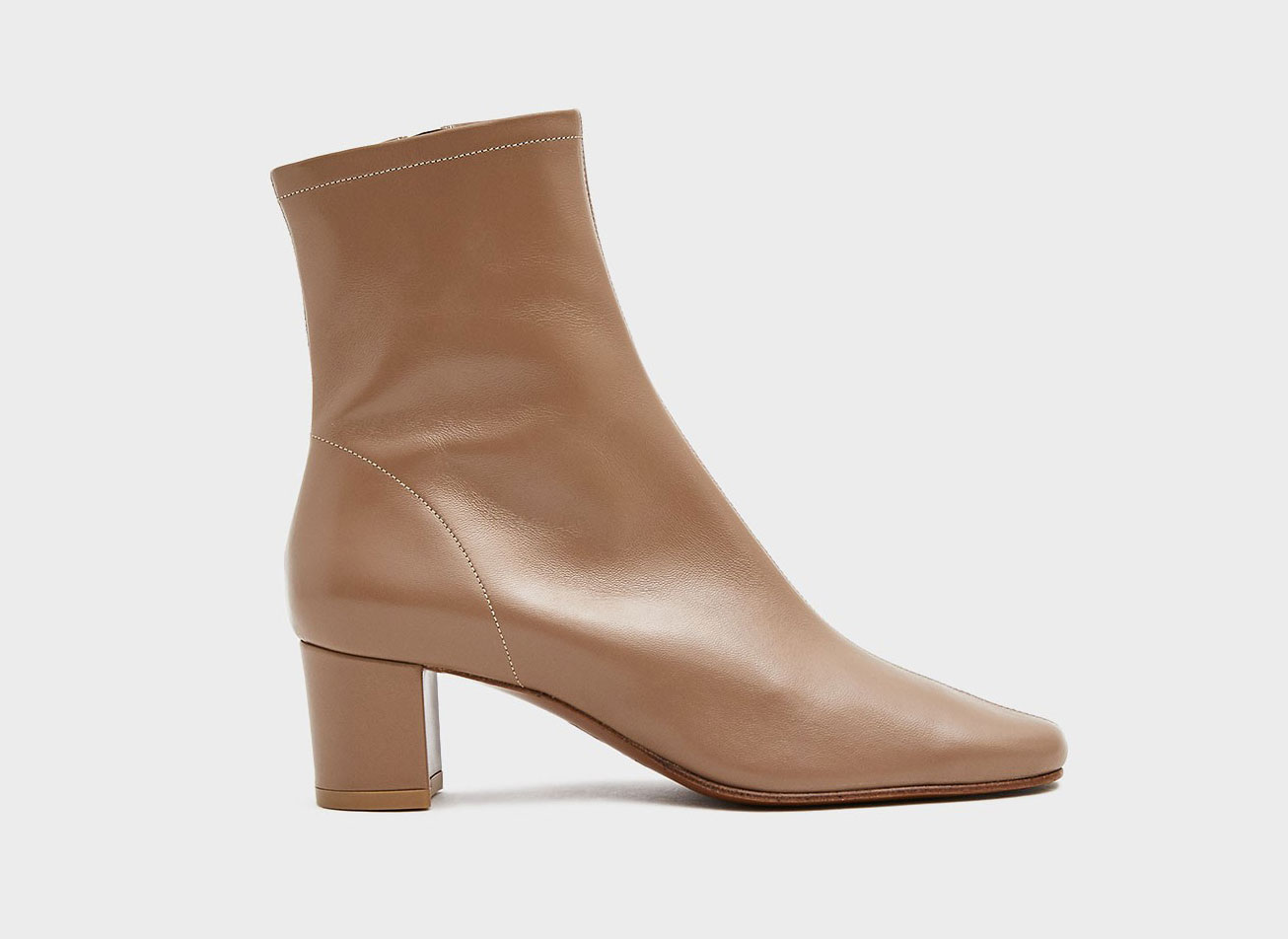 BY FAR Sofia Leather Boot in Beige