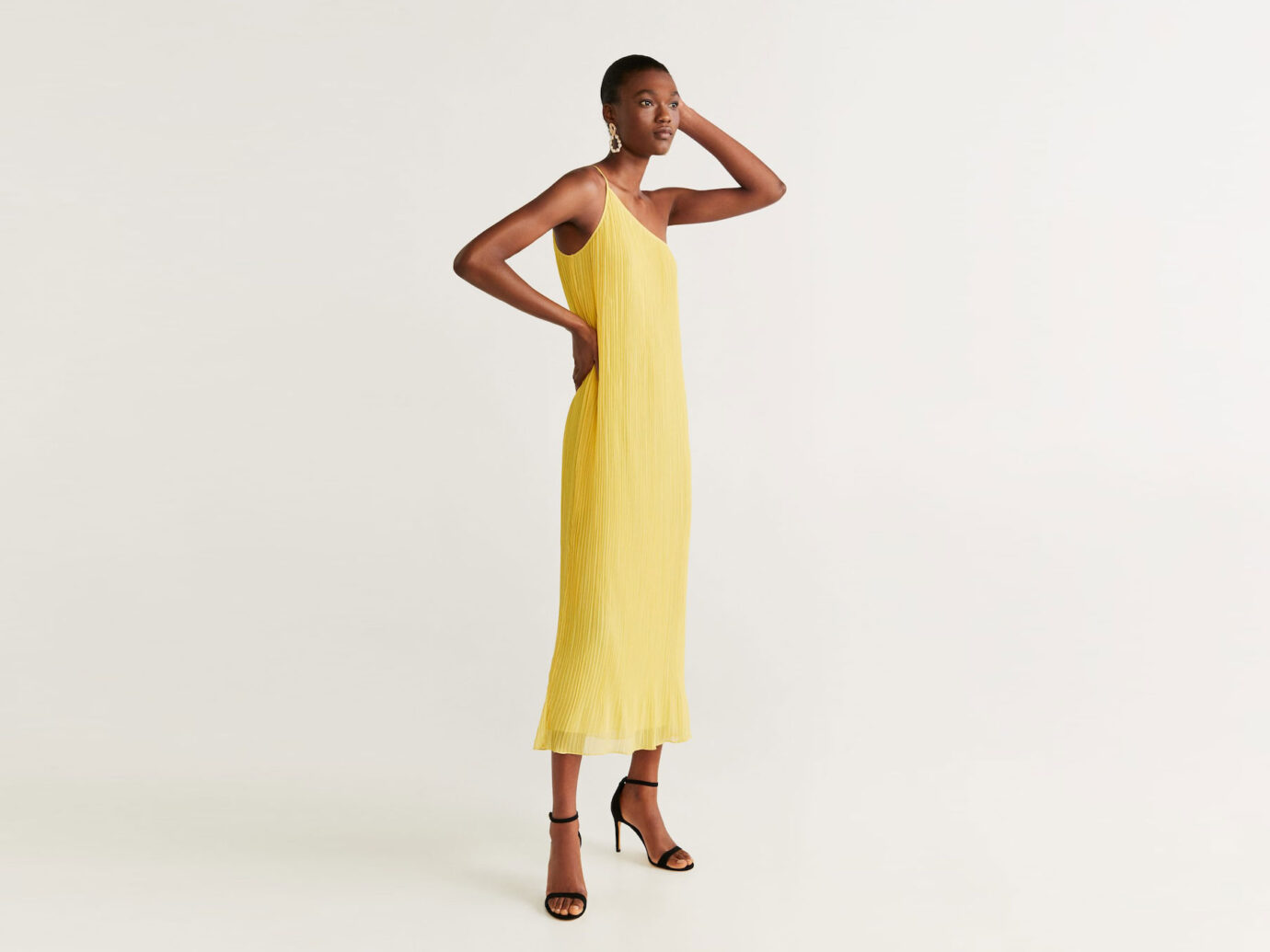 Mango Asymmetric Pleated Dress