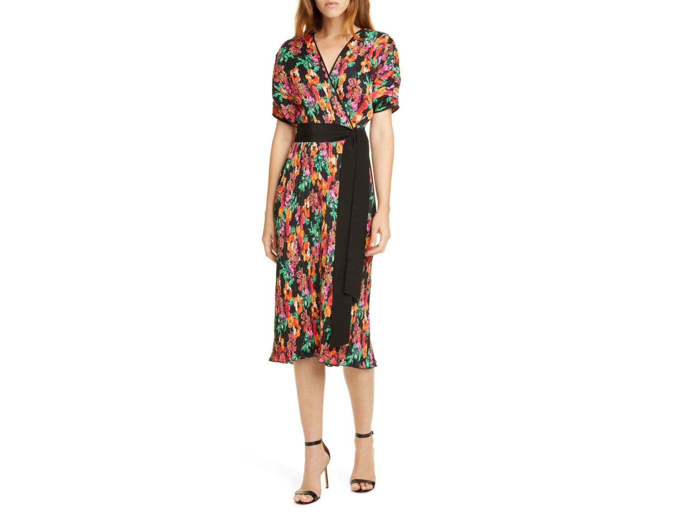 DVF Autumn Floral Micropleat Short Sleeve Dress