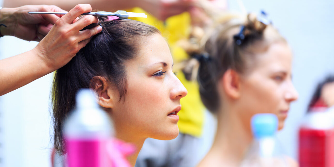 Hairstylists preparing models before the fashion show. Look s from NYFW spring summer 2020