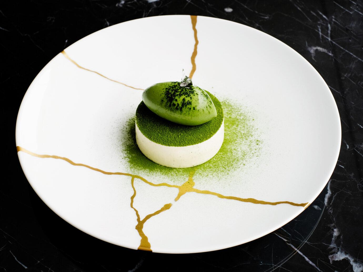 Matcha Green Tea Tiramisu with Black Sesam Crunch Inside