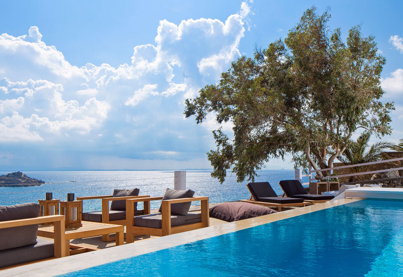 View from the pool at Myconian Ambassador Hotel