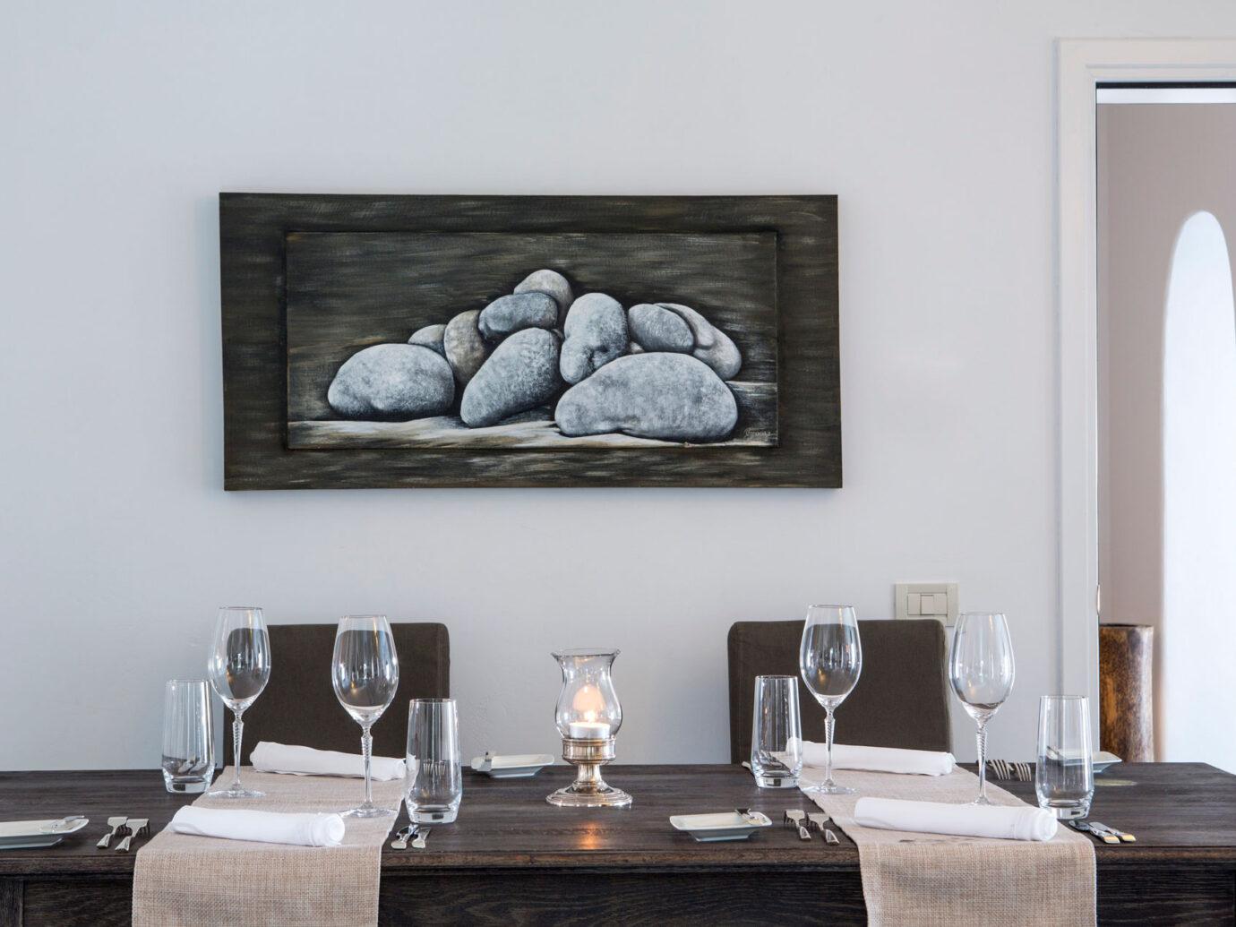 dinner table at the Myconian Ambassador Hotel, Greece