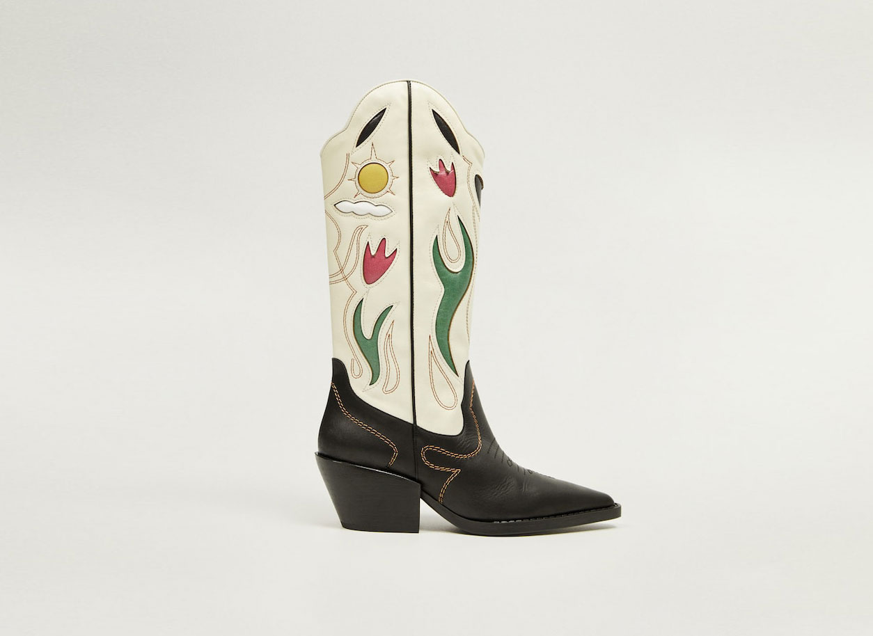 Mango decorated Leather Cowboy Boots