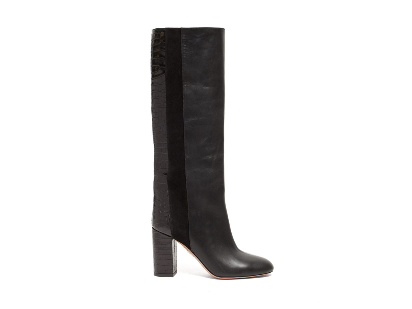 Aquazzura Eaton 85 croc-embossed knee-high leather boots