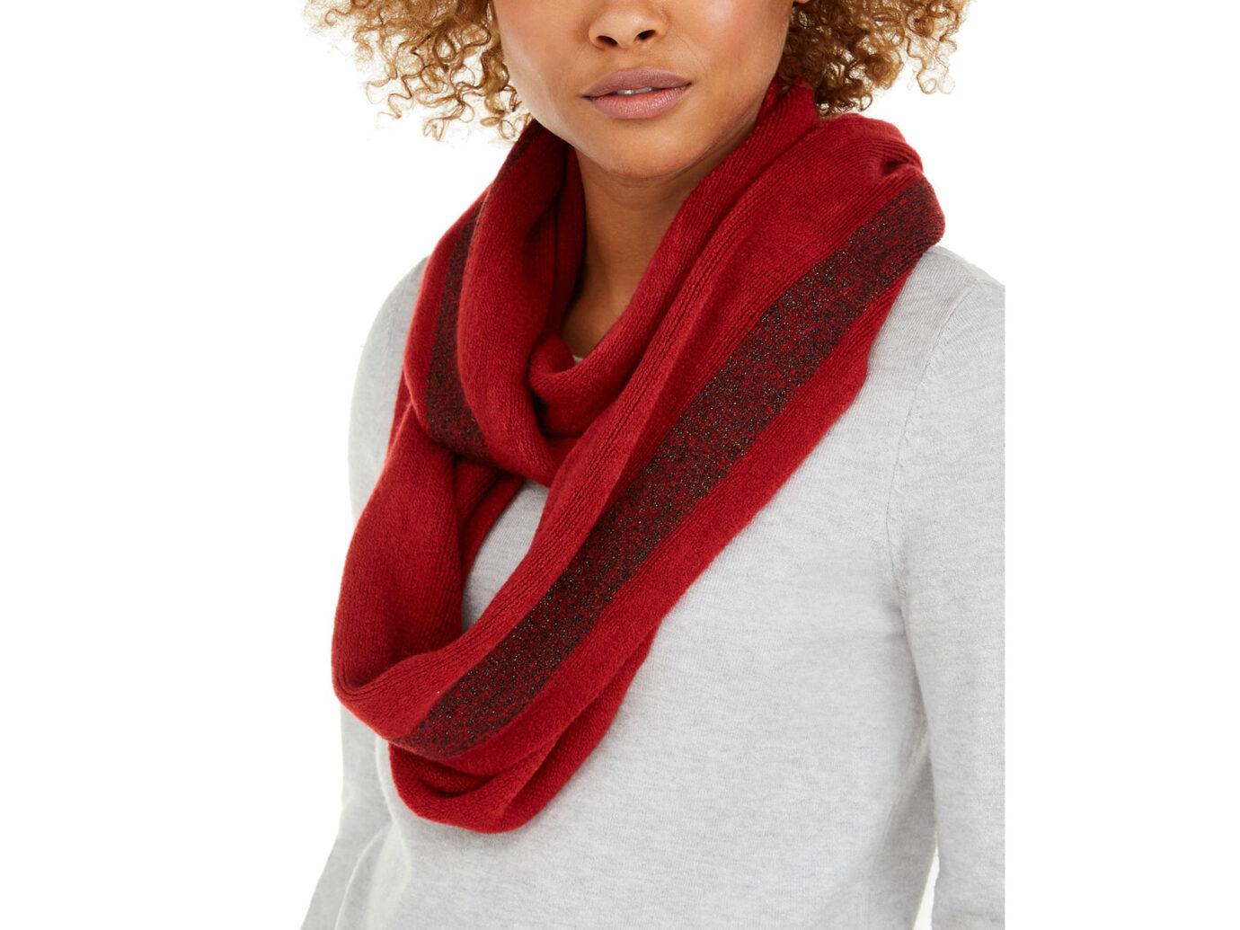 Calvin Klein Lurex Stripe Warp Knit Loop