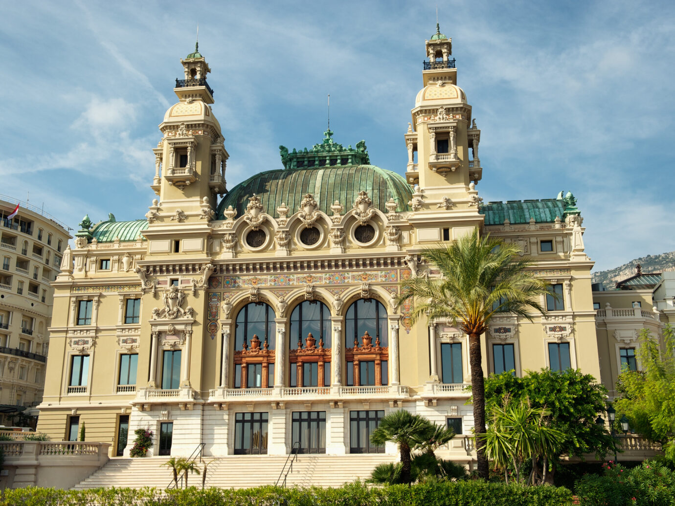 Casino of Montecarlo, Monaco. View from seaside.