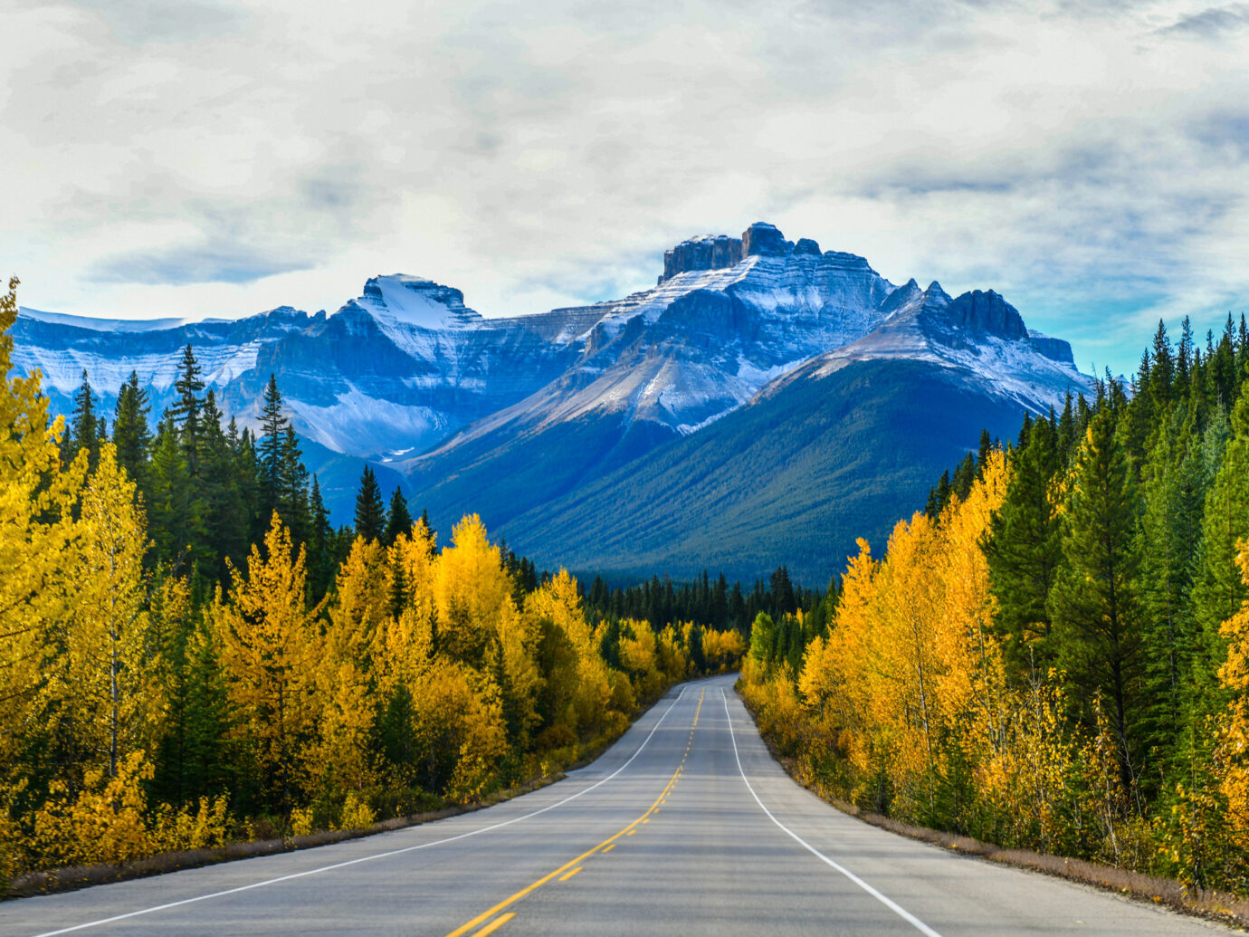 """The road 93 beautiful """"Icefield Parkway"""" in Autumn Jasper National park,Canada"""