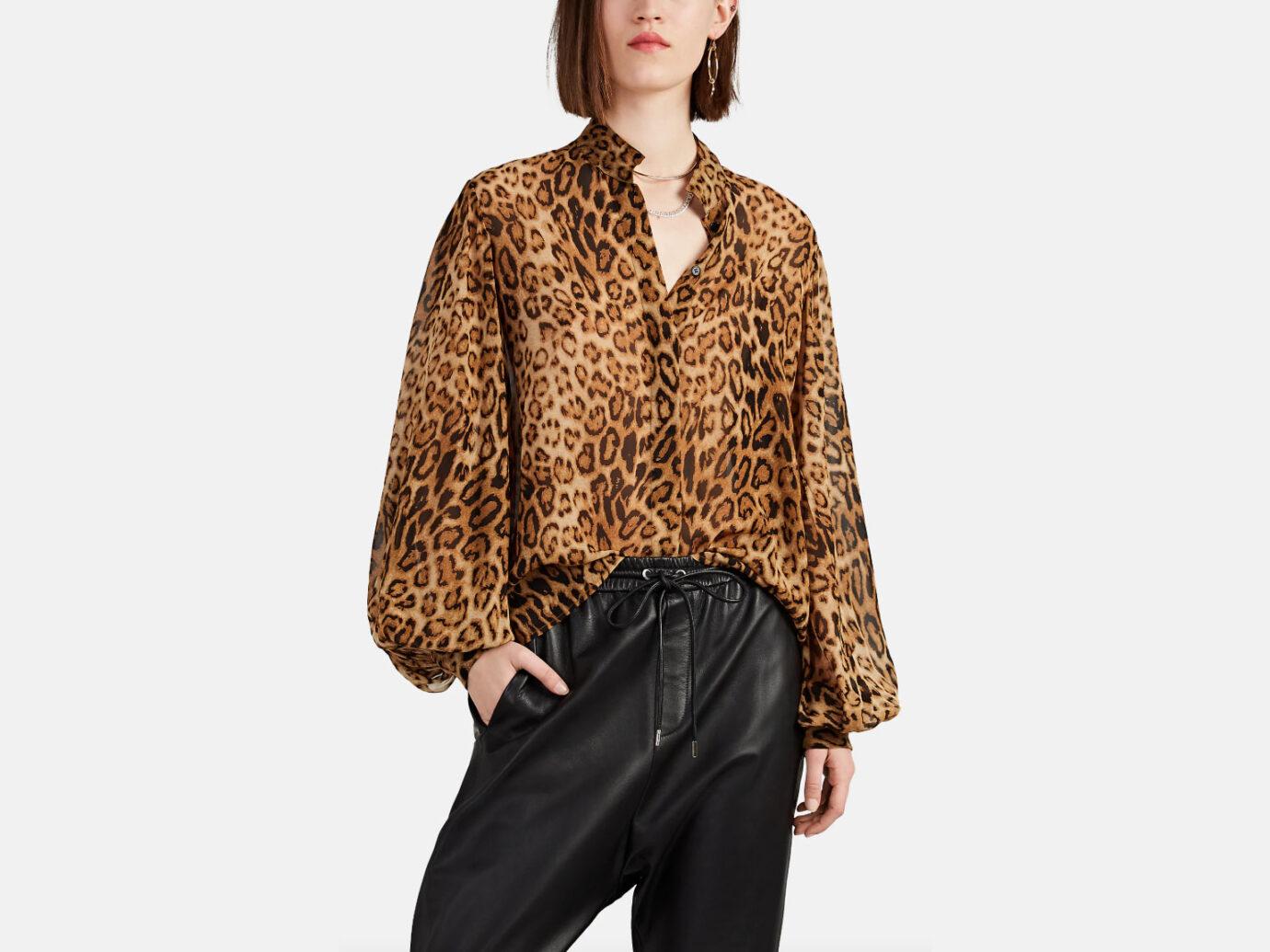 Nili Lotan Evelyn Leopard-Print Silk Blouse