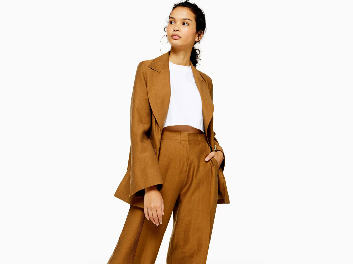 Topshop Dark Camel Raw Hem Single Breasted Suit