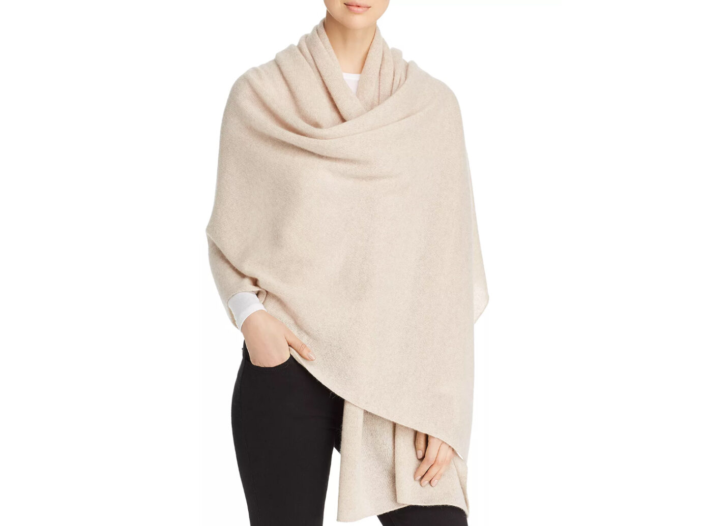 C by Bloomingdale's Cashmere Travel Wrap (Heather oatmeal)