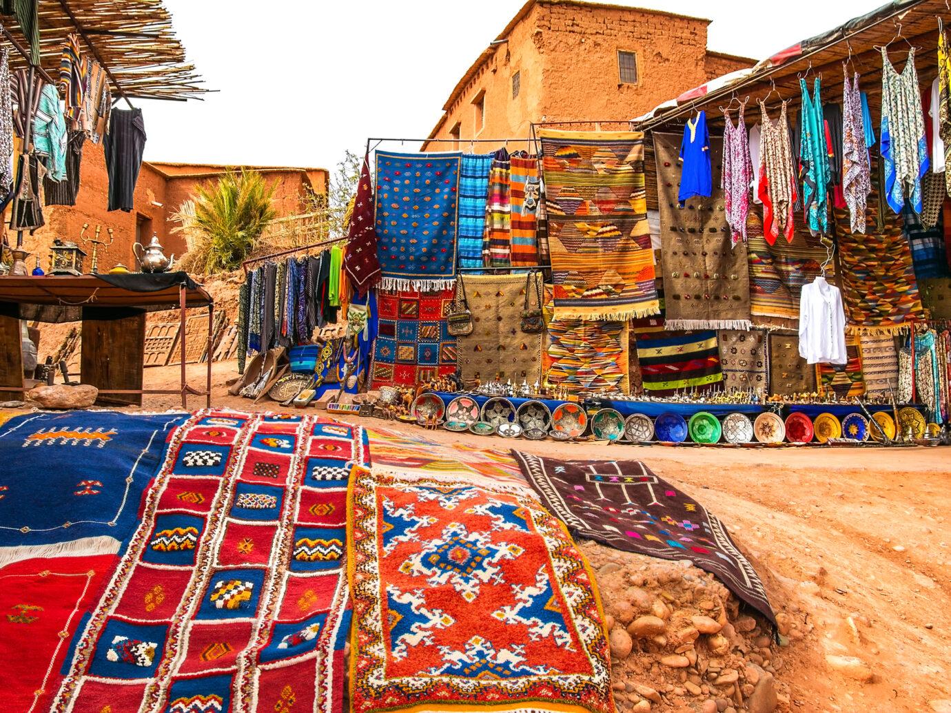 Souvenir shop in the open air in Kasbah Ait Ben Haddou near Ouarzazate in the Atlas Mountains of Morocco.