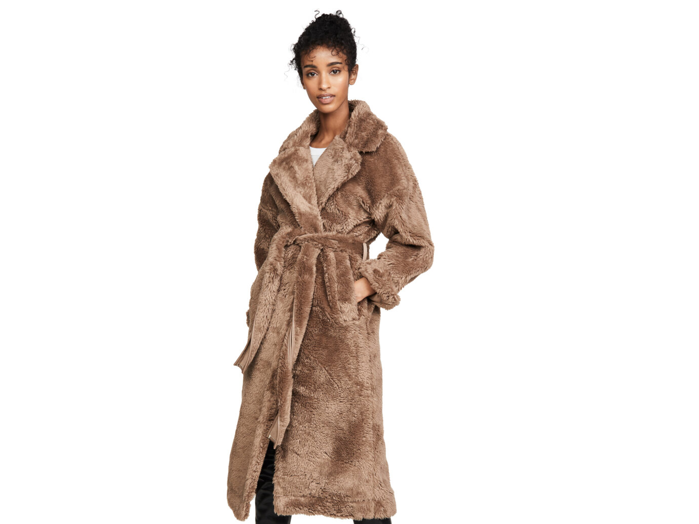 Moon River Tie Waist Faux Fur Jacket