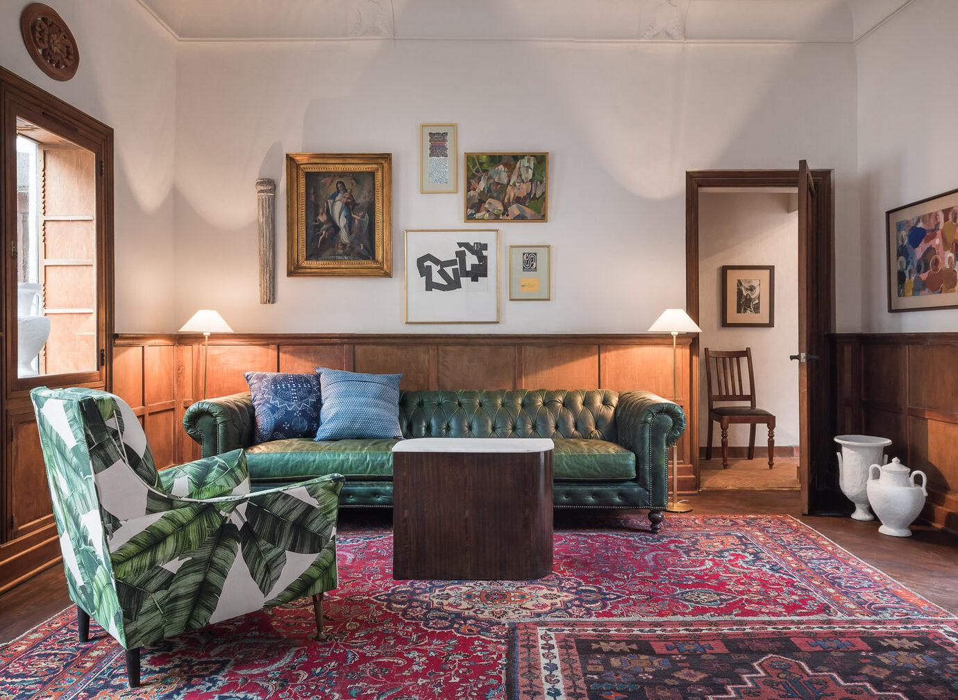 Lounge at Hotel Amparo, San Miguel de Allende