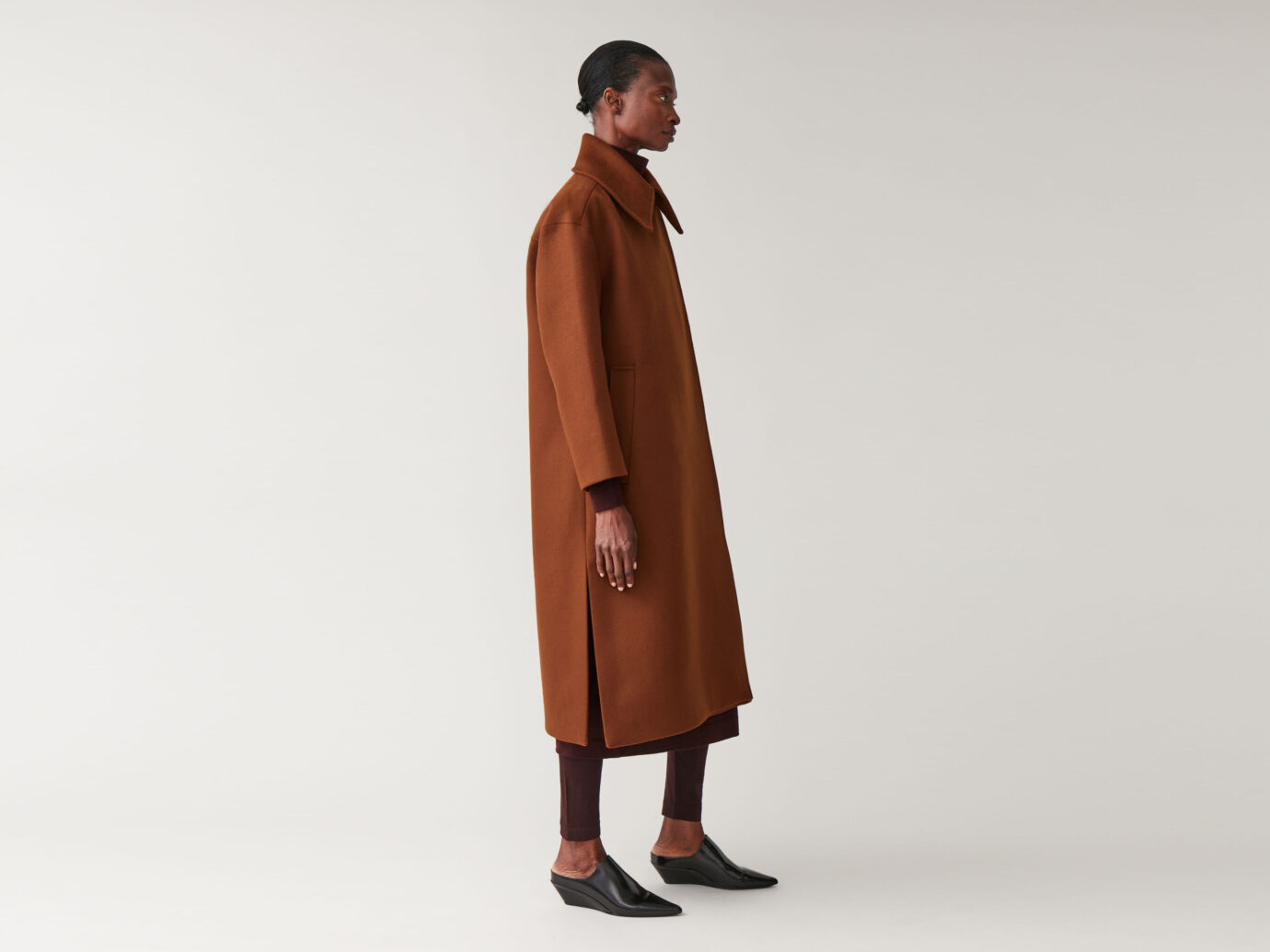 Cos Wool Coat With Oversized Collar