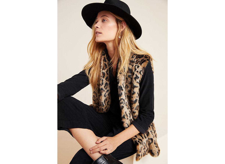 Velvet by Graham & Spencer Stephie Leopard Faux Fur Vest
