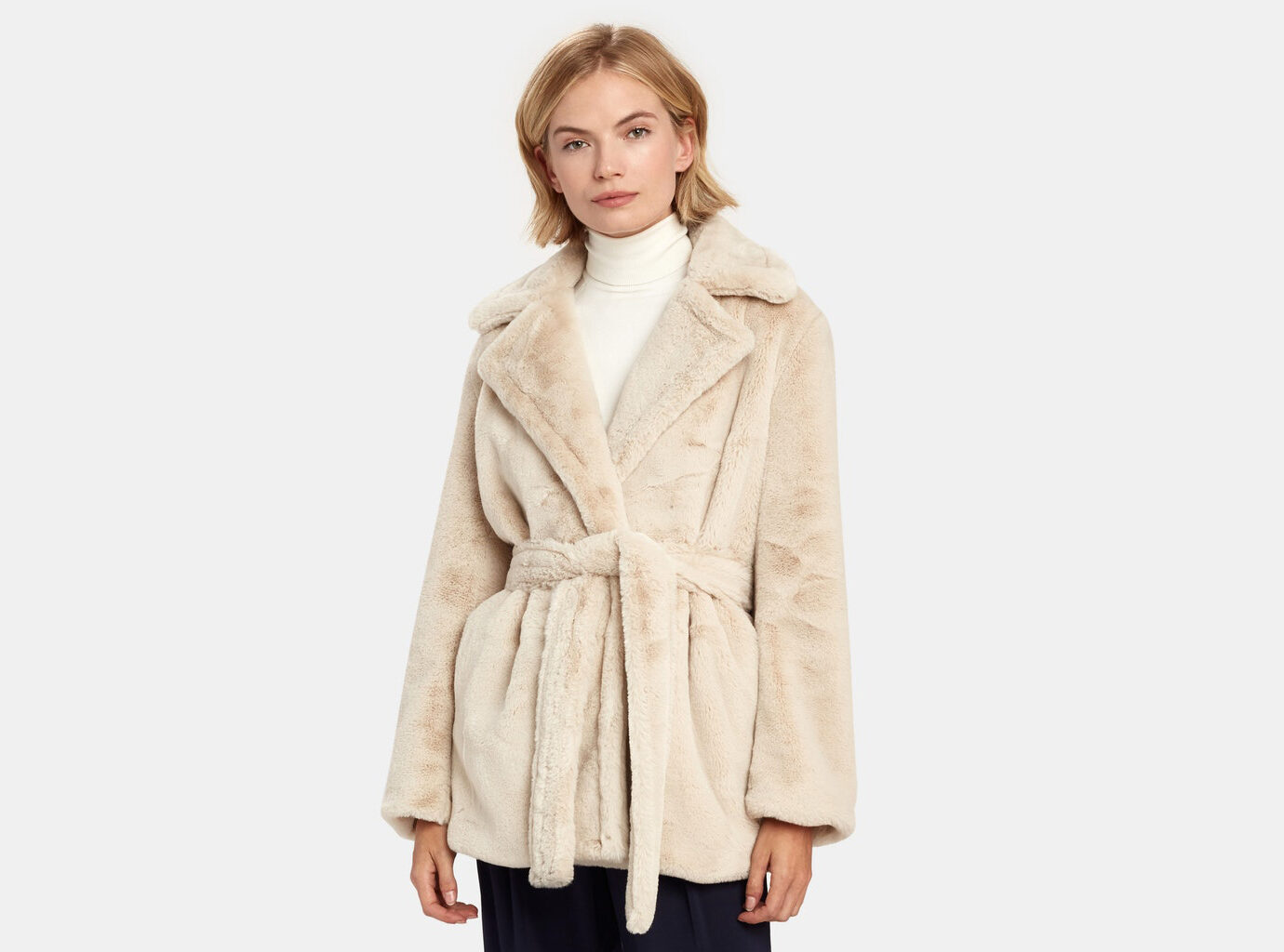 Vince. Belted Plush Faux Fur Coat