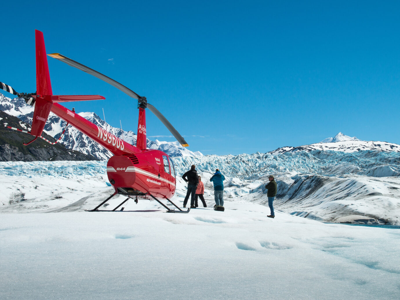 Alpine Air helicopter tour over Chugach Mountains with Colony Glacier Landing