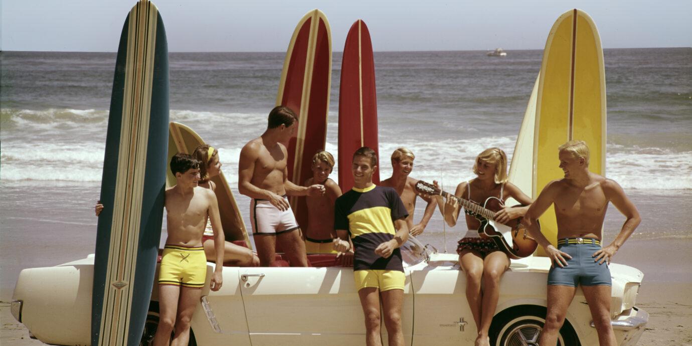 vintage photo of men on the beach