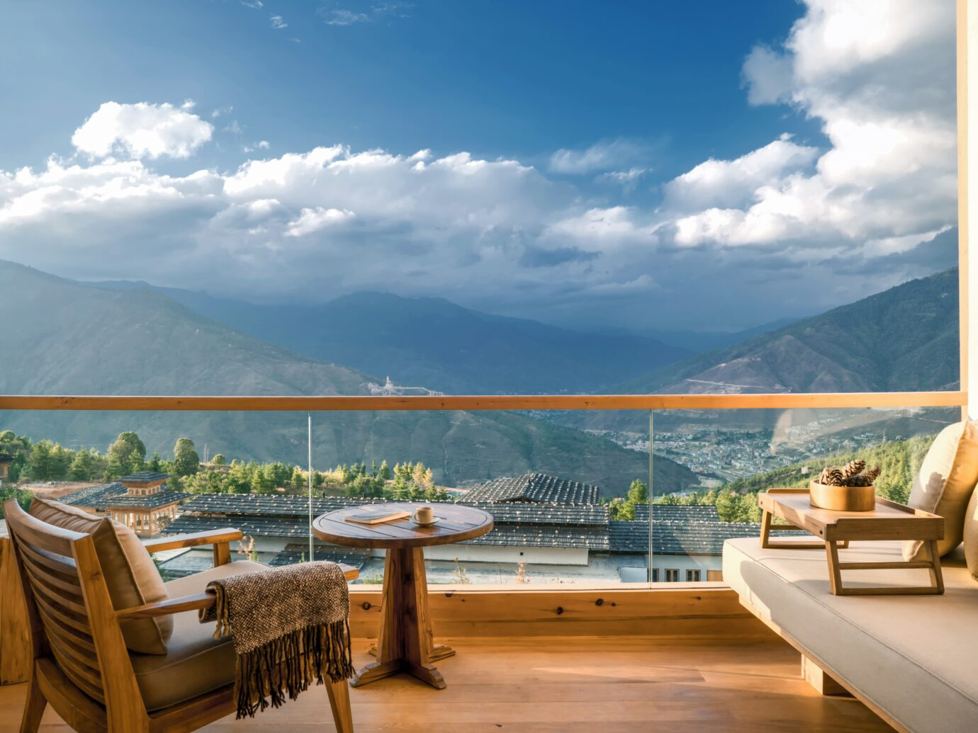 View from the balcony at Six Senses Bhutan