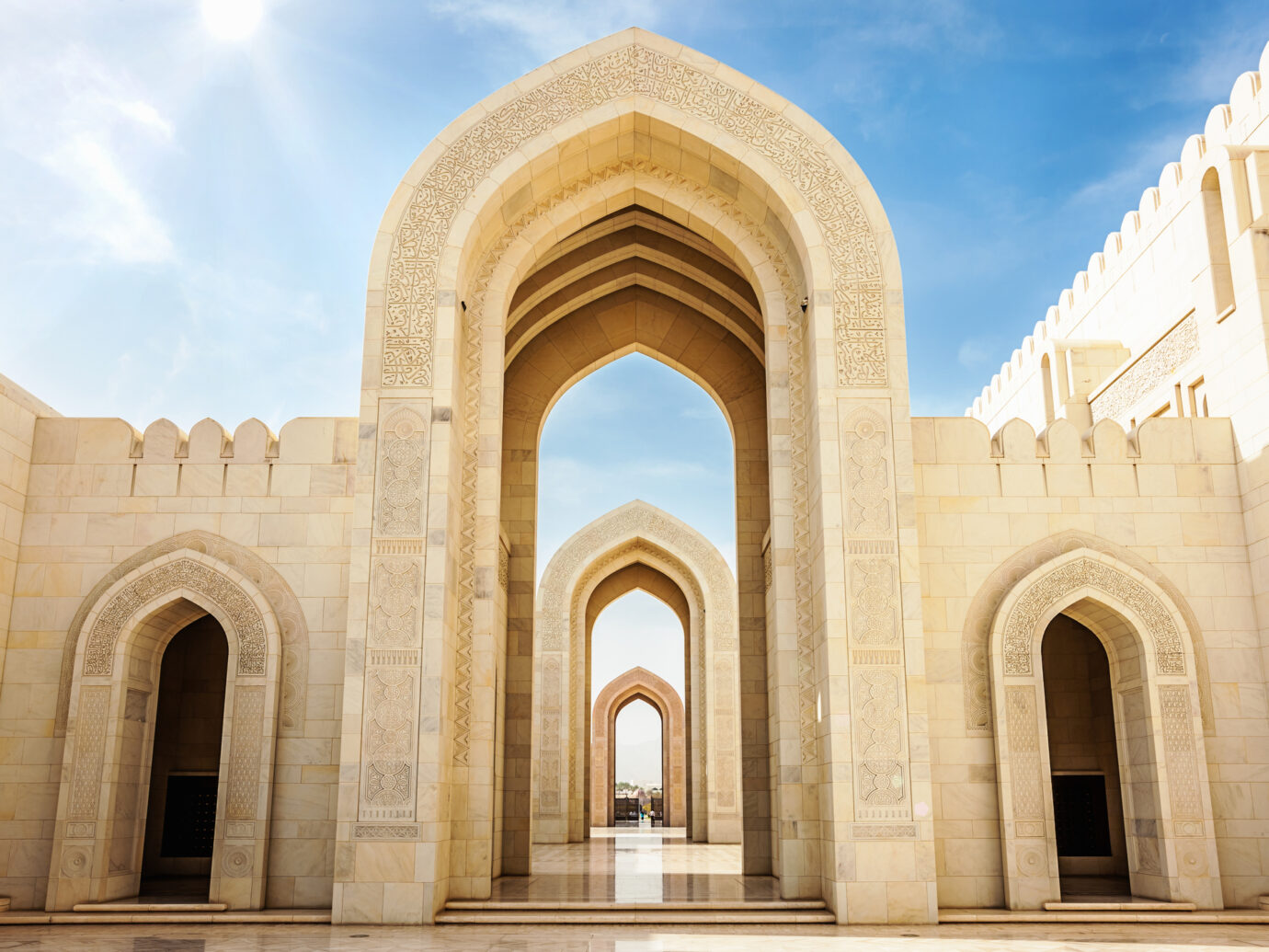 Arches of Sultan Qaboos Grand Mosque in Muscat, Oman, Middle East, Arabia.