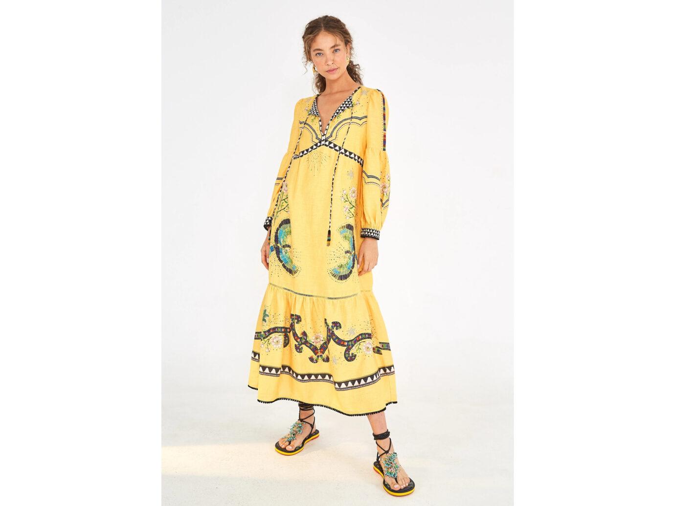 Farm Rio Yellow Borogodo Linen Dress