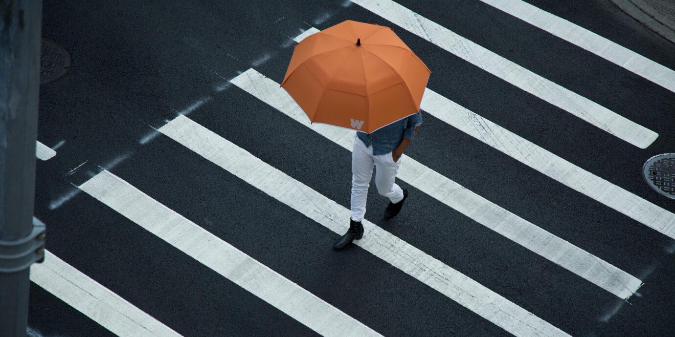 Weatherman umbrella on a rainy day