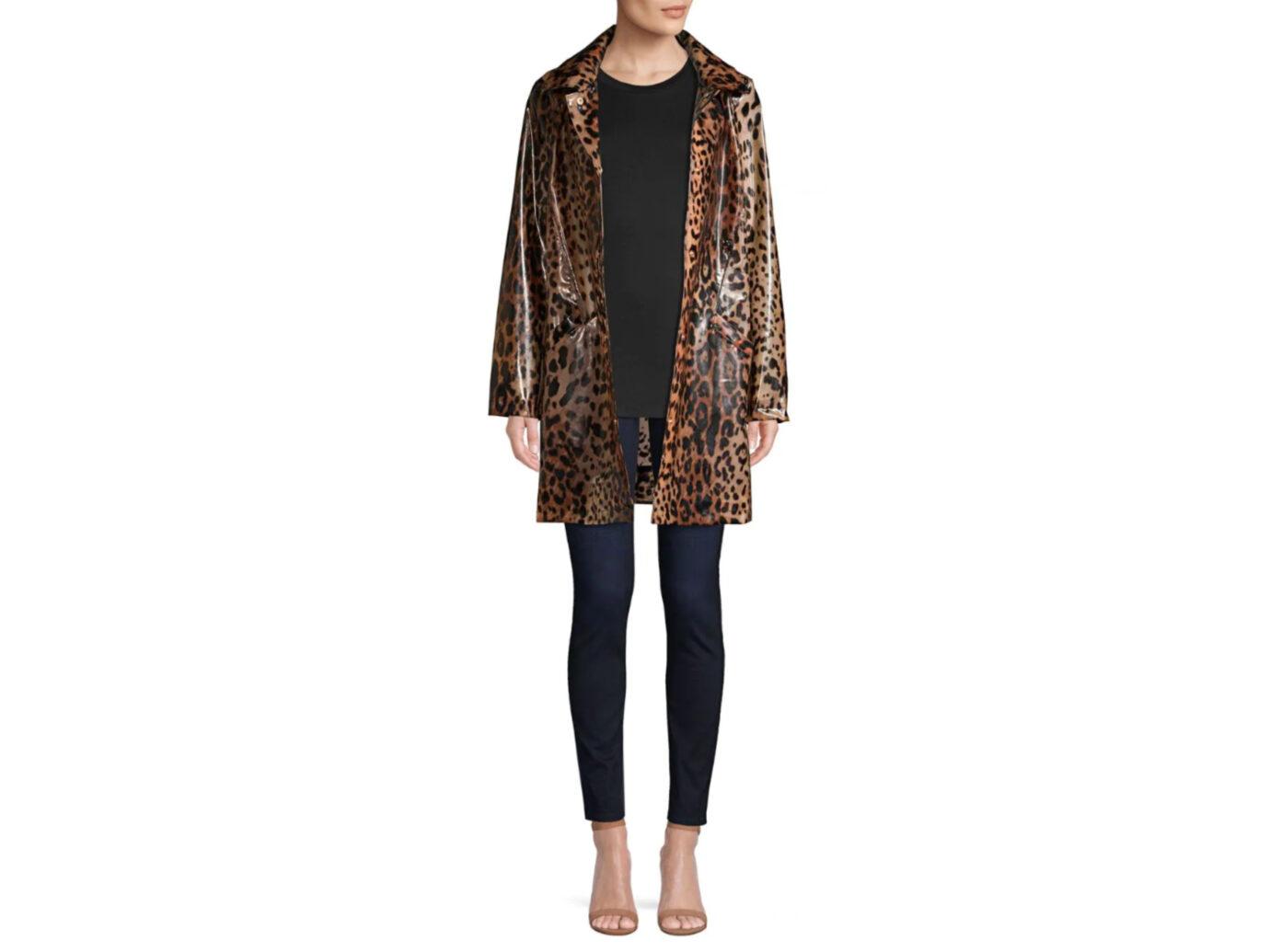 Donna Karan New York Leopard-Print Rain Coat